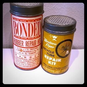 Vintage bicycle repair kit Tins